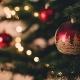 christmas ornaments and lights on Christmas tree