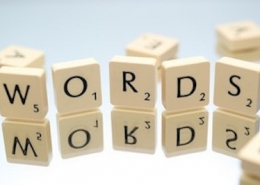 "Scrabble tiles spelling out ""words"""