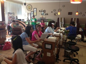The unexpected occurs: a worship service in a nail salon, including manicures and pedicures.