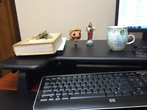 The author's desk, with companions Buffy and Jesus