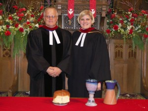 Erica Schemper and her father, Lugene Schemper, at Christmas Day Vespers in 2005.