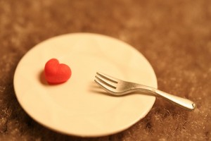 Tiny plate with tiny heart and tiny fork