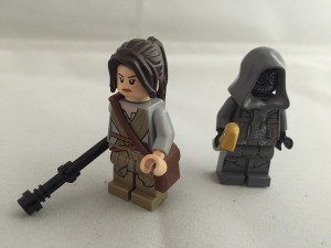 Lego versions of Rey and Kylo Ren from The Force Awakens