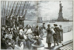 Immigrants on deck of steamer