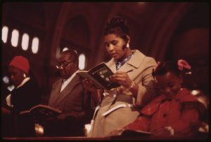 Worshippers at Holy Angel Roman Catholic Church on Chicago's South Side