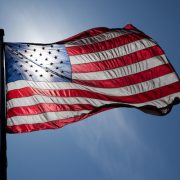United States flag, backlit