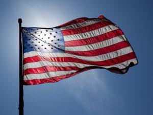 United States flag, backlit