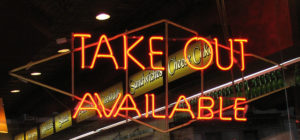 Take-Out Neon Sign in a New York deli