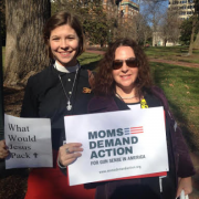 The author with a fellow Moms Demand Action member at the annual Virginia Interfaith Lobby Day for Gun Violence Prevention