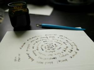 prayers written in a spiral on paper