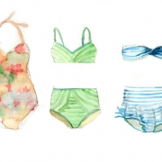 watercolor drawing of three women's swimsuits - one flowered 1-piece and two striped 2-pieces