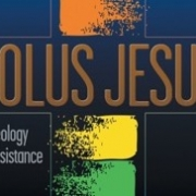 Cover of Solus Jesus - multi-colored cross behind the book title and sub-title