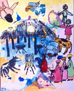 an ink drawing and watercolor picture on paper of the nativity of Jesus
