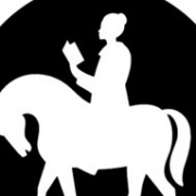 silhouette image of a woman on a horse reading a book - the logo for UMC clergywomen