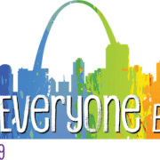 """""""For Everyone Born"""" in text set in front of a rainbow-colored silhouette of the St. Louis skyline"""