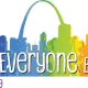 """For Everyone Born"" in text set in front of a rainbow-colored silhouette of the St. Louis skyline"
