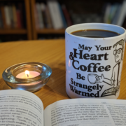 The author prays over her morning coffee.