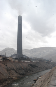 The smelter in La Oroya was emitting up to 2 million pounds of lead, arsenic, cadmium and sulfur dioxide per day at peak levels of production prior to enforcement of environmental regulations.