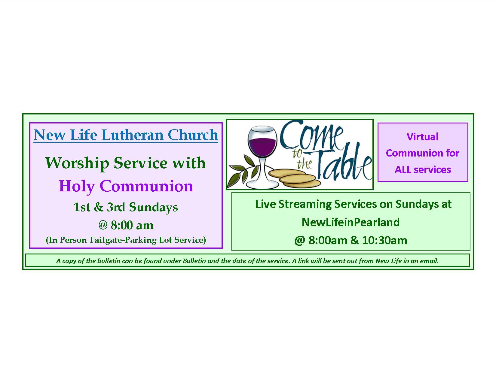 Communion Schedule sept 2020