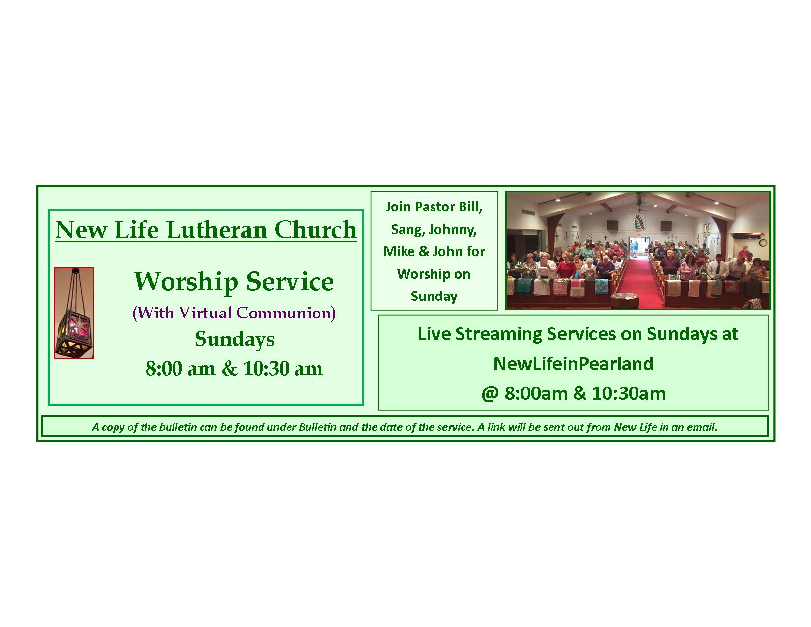 Worship green with streaming and communion