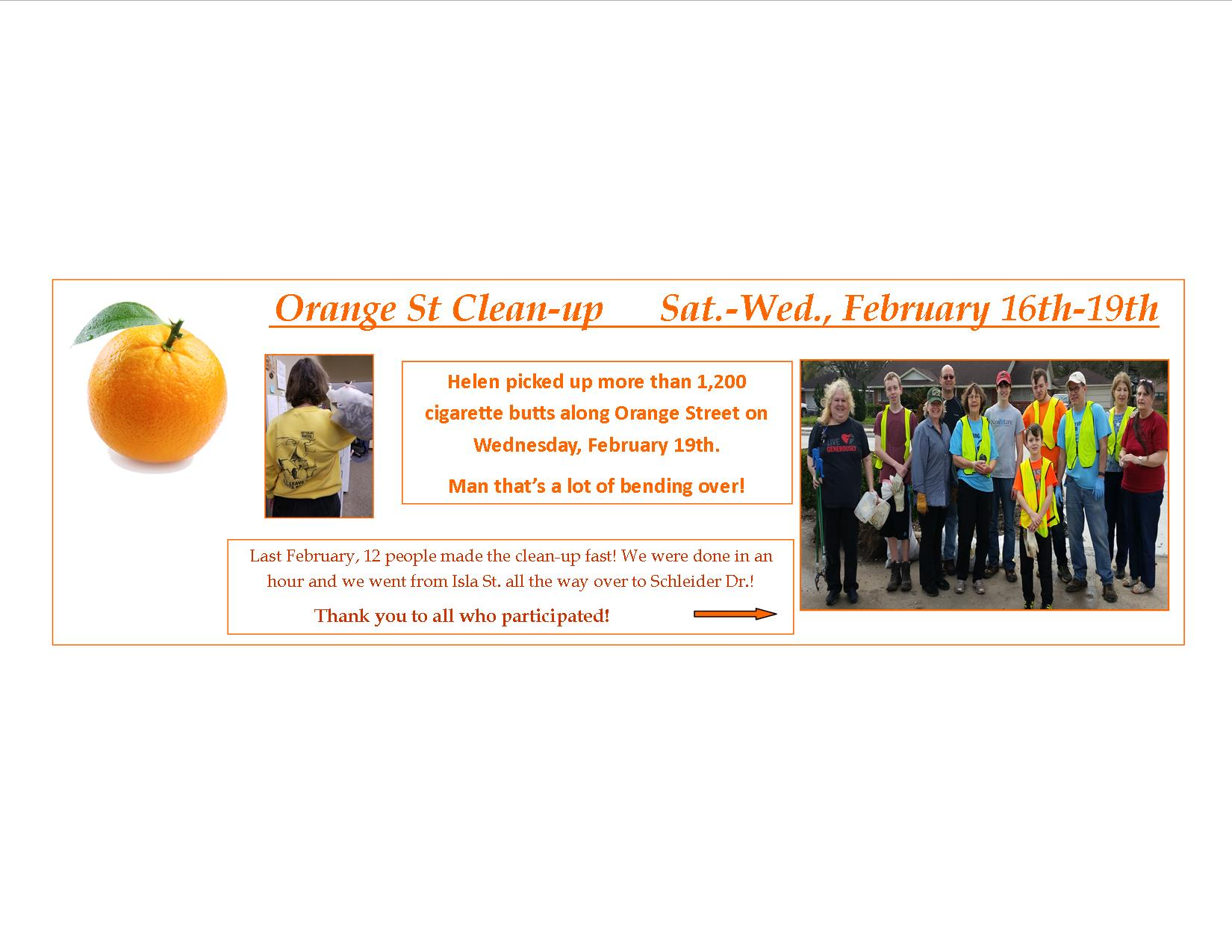 Orange St Cleanup Feb 2020