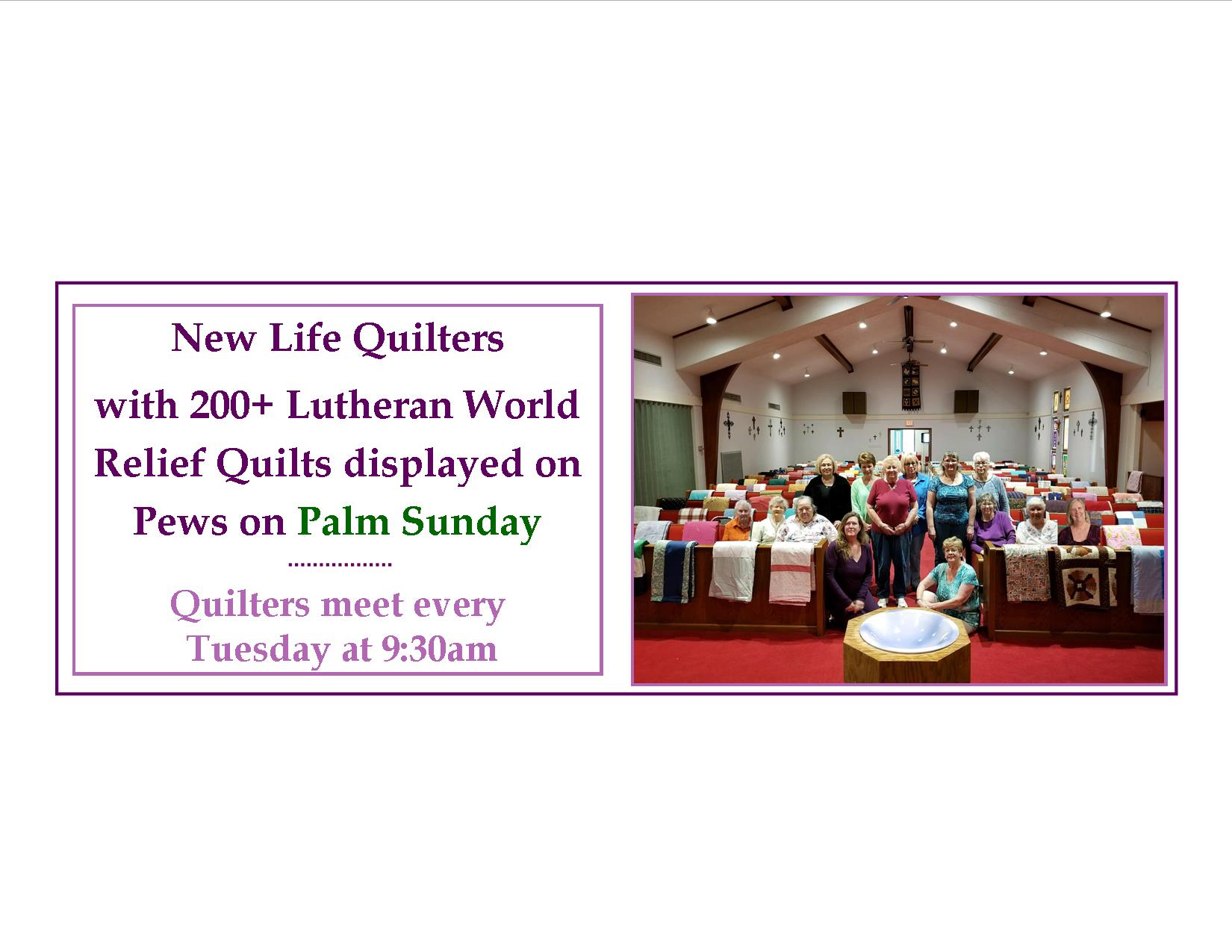 Quilters with quilts