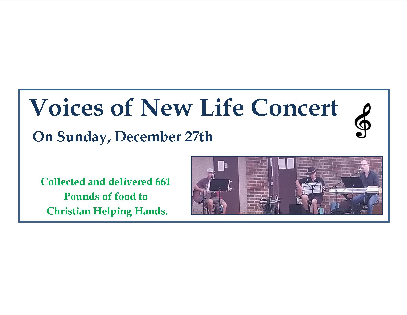 Voices of New Life Concert Dec 27th 2020 results