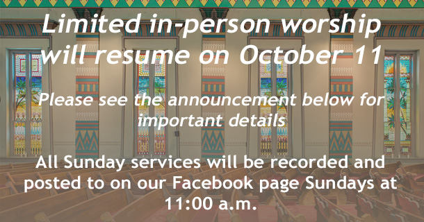 Worship announcement slide October 5, 2020