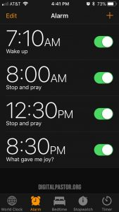 iPhone alarms as reminders for prayer